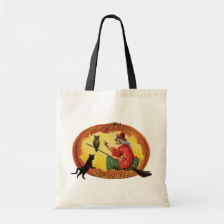 Old-fashioned Halloween, Witch, Black cat & Owl Tote Bag