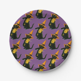 Old-fashioned Halloween, Witch cat playing Violin Paper Plate