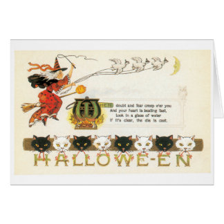Old-fashioned Halloween, Witch & Cats Card