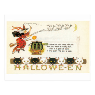 Old-fashioned Halloween, Witch & Cats Postcard