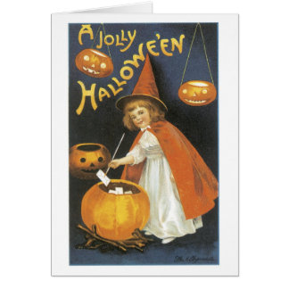 Old-fashioned Halloween, Witch girl Card