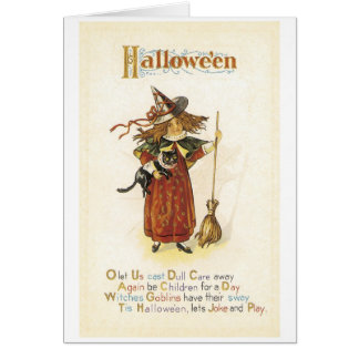 Old-fashioned Halloween, Witch girl with Black cat Card