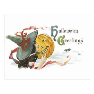Old-fashioned Halloween, Witch & Jack-o'-lantern Postcard