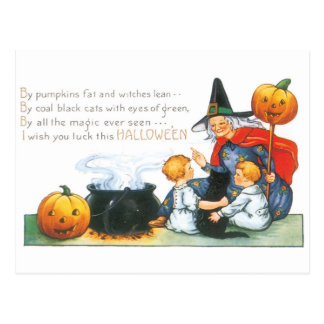 Old-fashioned Halloween, Witch Postcard