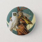 Old Fashioned Halloween Witch & The Moon 6 Cm Round Badge