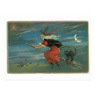 Old-fashioned Halloween, Witch with Black cat Postcard