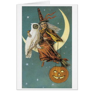 Old-fashioned Halloween, Witch with Owl Card