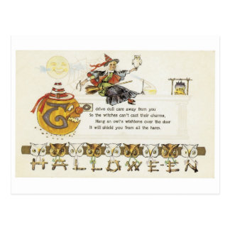 Old-fashioned Halloween, Witch with Owl Postcard