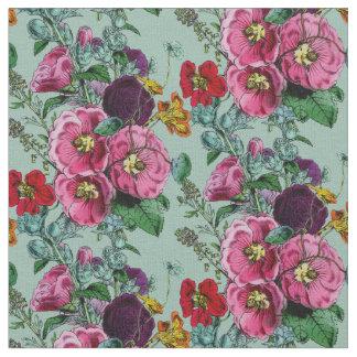 Old Fashioned Hollyhock Summer Bouquet Fabric