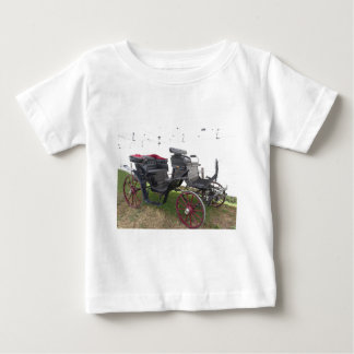 Old-fashioned horse carriage on green grass baby T-Shirt