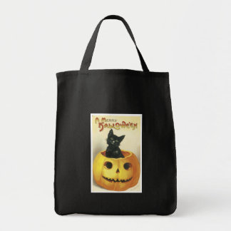 Old Fashioned Merry Halloween Cat Canvas Bag