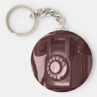 Old Fashioned Phone Basic Round Button Key Ring
