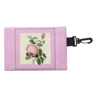 Old Fashioned Pink Rose Linen Gingham Decorative Accessories Bags