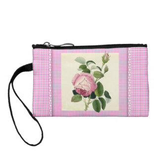 Old Fashioned Pink Rose Linen Gingham Decorative Coin Purse