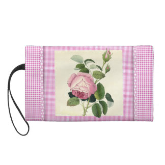 Old Fashioned Pink Rose Linen Gingham Decorative Wristlet Clutches