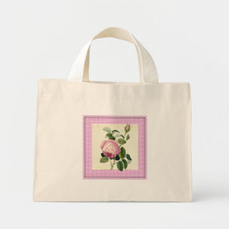 Old Fashioned Pink Rose Linen Gingham Decorative Mini Tote Bag
