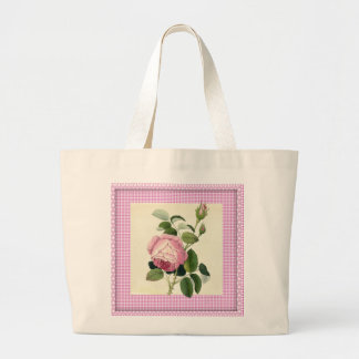 Old Fashioned Pink Rose Linen Gingham Decorative Jumbo Tote Bag
