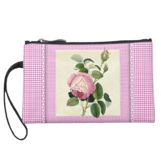 Old Fashioned Pink Rose Linen Gingham Decorative Wristlet Purses