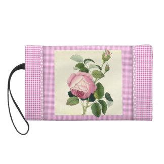 Old Fashioned Pink Rose Linen Gingham Decorative Wristlets