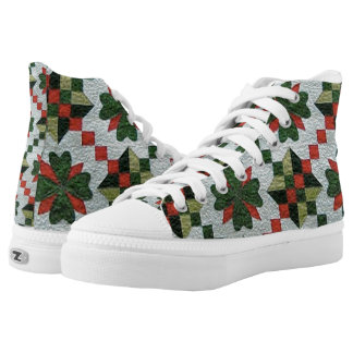 Old Fashioned Quilted High-Top Tennis Shoes Printed Shoes
