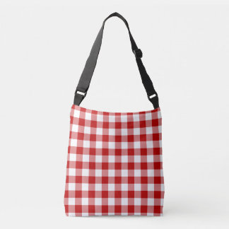 Old Fashioned Red and White Gingham Pattern Crossbody Bag
