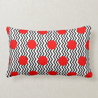 Old Fashioned Red Spots and Black Chevron Lumbar Cushion