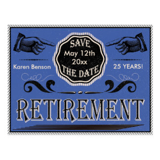 Old Fashioned Retirement Save The Date - Blue Postcard