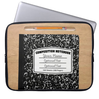Old Fashioned Retro Composition Book Laptop Sleeve