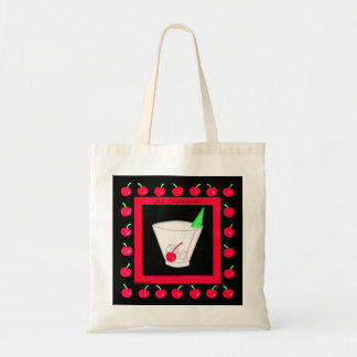 Old Fashioned Retro Drink Red Cherries on Black Budget Tote Bag