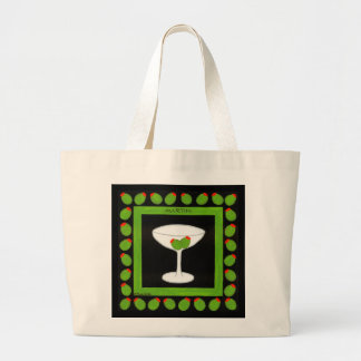 Old Fashioned Retro Drink Red Cherries on Black Jumbo Tote Bag