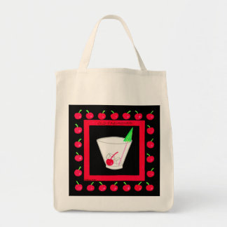 Old Fashioned Retro Drink Red Cherries on Black Grocery Tote Bag