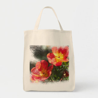 Old-fashioned rose tote grocery tote bag