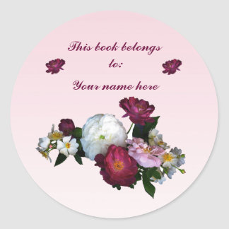 Old-Fashioned Roses Bookplate Round Sticker