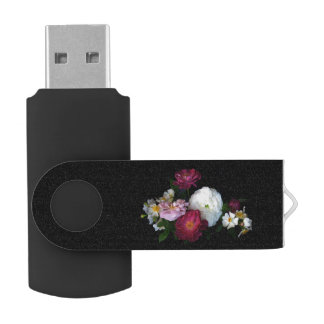 Old Fashioned Roses Swivel USB 2.0 Flash Drive
