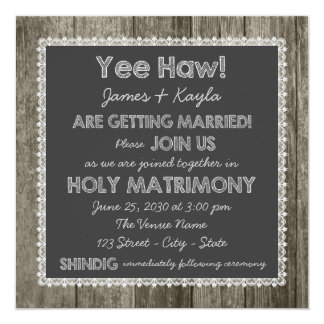 Old Fashioned Rustic Country Chalkboard Wedding Card