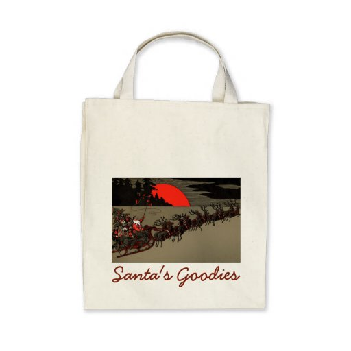 Old Fashioned Santa and Reindeer Sleigh Bags