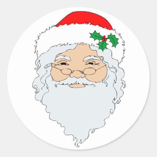 Old Fashioned Santa Claus Face Round Sticker