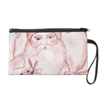 Old Fashioned Santa Claus in Red Wristlet Purse