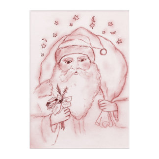 Old Fashioned Santa in Cranberry Acrylic Print