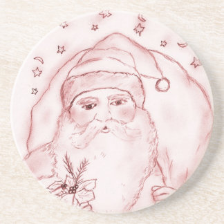 Old Fashioned Santa in Cranberry Coaster