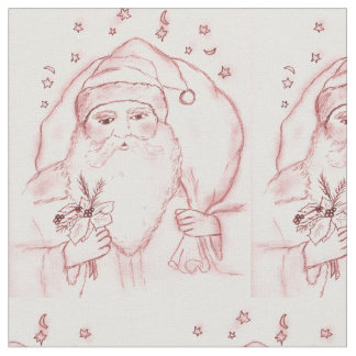 Old Fashioned Santa in Cranberry Fabric