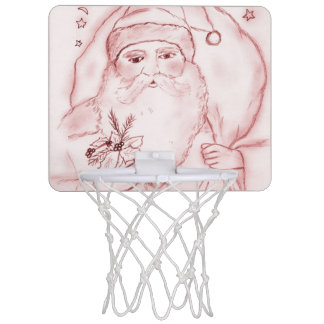 Old Fashioned Santa in Cranberry Mini Basketball Hoop