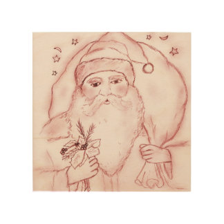 Old Fashioned Santa in Cranberry Wood Wall Decor