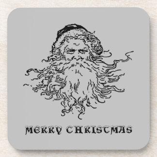 Old-Fashioned Santa Merry Christmas Gray Coaster
