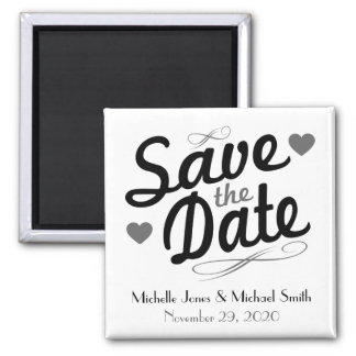 Old Fashioned Save The Date Magnet (Black / Gray)