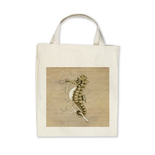 Old Fashioned Seahorse on Vintage Paper Background Canvas Bag
