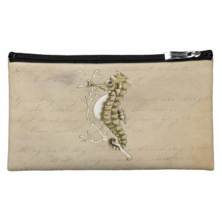 Old Fashioned Seahorse on Vintage Paper Background Cosmetics Bags