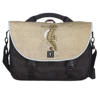 Old Fashioned Seahorse on Vintage Paper Background Computer Bag