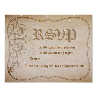 Old Fashioned Sepia Wedding RSVP Card 11 Cm X 14 Cm Invitation Card