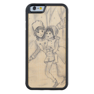 Old Fashioned Skaters in Blue II Carved Maple iPhone 6 Bumper Case